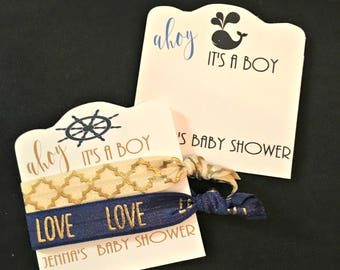 Ahoy it's a boy/Nautical Baby Shower favors/Hair ties and elastics/Baby Boy Favors/