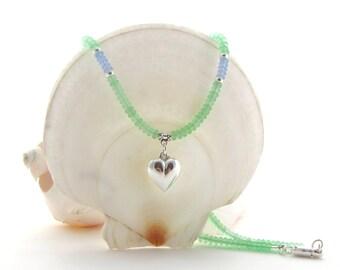 Green Matte Bead Necklace w/Puffed Heart