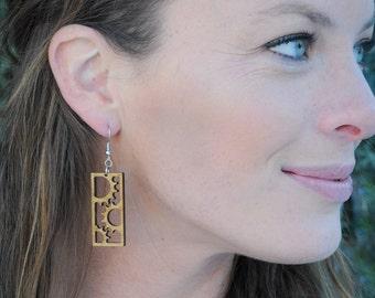 Bicycle Gear Earrings | Laser Cut Wood Jewelry | Lightweight Earrings | Steampunk Earrings | Bamboo Earrings