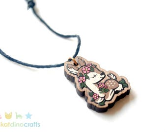 Flower Fawn Wooden Charm Necklace
