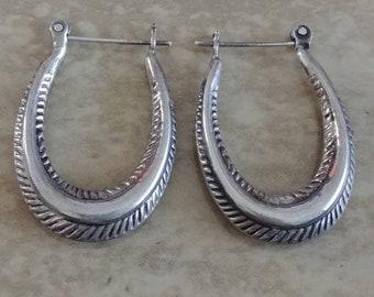 Beautiful Navajo Sterling Silver Hoop Earrlings