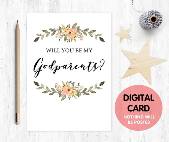 godparents card printable will you be my godparents card digital download godparents proposal floral godparents card
