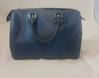 Authentic Louis Vuitton Speedy 25 in Blue Epi Leather