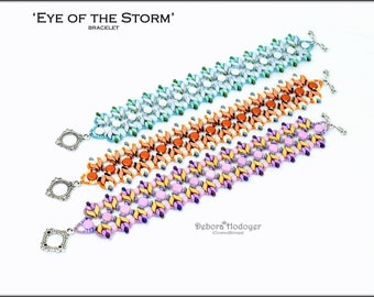 Bead pattern beaded bracelet Eye of the storm made with Stormduo, Discduo, Miniduo, O beads, round beads and seed beads