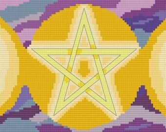 Cross Stitch Pattern - Triple Moon Goddess