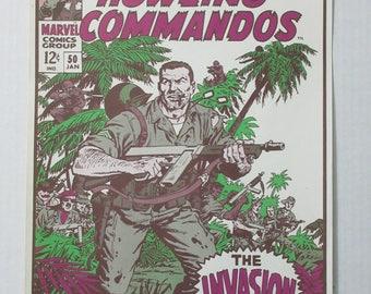 Vintage original 1974 Marvel Comics Sgt Nick Fury and His Howling Commandos 50 comic book cover art pin-up POSTER: 1970's Marvelmania/Foom