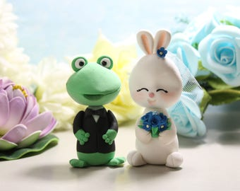 Frog + Bunny wedding cake toppers - groom frog bunny rabbit unique bride groom figurines wedding gift personalized green white royal blue
