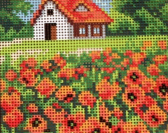 Needlepoint tapestry, field of POPPIES, 15 x 20 cm, REF 2874