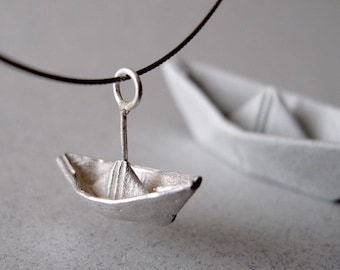 Origami Necklace Jewelry Silver Boat Pendant Origami Boat Necklace