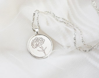 Carnation Circle Necklace (925 Sterling Necklace, Charm Necklace, Handmade Jewelry, Mother's Day Gift, Birthday Gift)