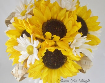 Rustic Sunflower Daisy Bouquet, Woodland Wedding Flowers, Yellow White, Burlap