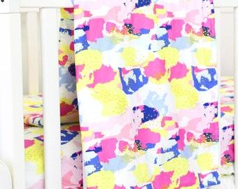 MaKenna's Bright Baby Blanket | Pink, Light Pink, Yellow, Blue, Bright, Neon, Funky Baby Girl Crib Blanket | Neon Inspired Baby Nursery