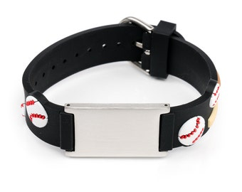 Baseball children ID bracelet , Emergency bracelet kids, kids ID bracelet, name bracelet children