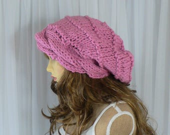 Pink Knit Hat Pink Hat Cable Knit Beanie Chunky Beanie Slouchy Wool Beanie Tam Hat Oversized Hat Knit Slouchy Hat Women Knit Hat