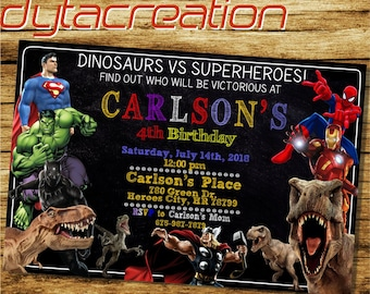 Dinosaurs Invitation.Dinosaurs Birthday.Superhero Party.Superhero Printable.Dinosaurs Vs Superhero Invitation.Superhero Invitation-DA