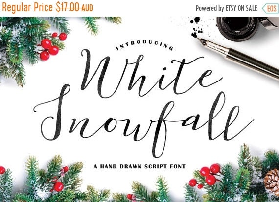 70% OFF Sale Calligraphy Font, Hand Writing, Digital Fonts, Wedding Font, Invitation Font, Script Font, Digital Download, White Snowfall