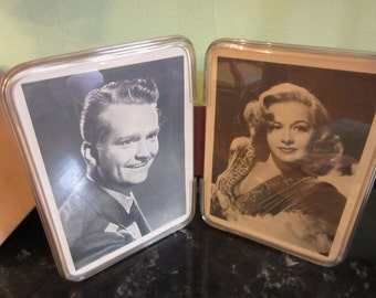 Retro Double Lucite Frame with Black and White Movie Star Photos.  Very Old Hollywood.