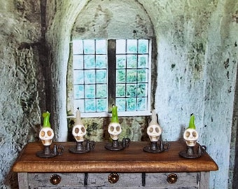 Dollhouse Miniature Skull Candle Holder - Your Choice of Color