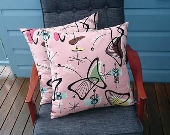 Pink boomerangs barkcloth cushion cover
