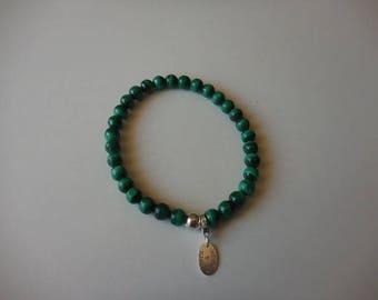 Malachite bracelet round 6 mm silver balls 925