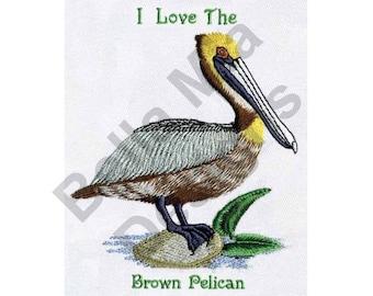 Bird - Machine Embroidery Design, Pelican, Louisiana Brown Pelican