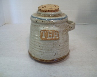 Stoneware, Pottery Tea Jar With Cork and Spoon Holder, P115 Free Shipping F1