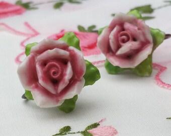 Pretty Vintage Porcelain Pink Flower Screw Back Earrings