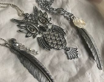Vintage articulated owl necklace, gift for her, vintage owl, owl pendant, Mother's Day, gypsy festival, boho necklace