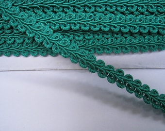 4 to 6 yards Medium Gimp Braid Trim 3/8 inch or 10mm Width - Choose Your Own Yards - Number 192 Teal Green