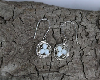 Bird Nest with Faceted Milky White Eggs Sterling Silver Earrings