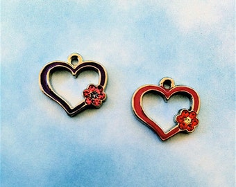 Heart Charms (hand-painted) with crystal flowers(style C533) 4 pieces