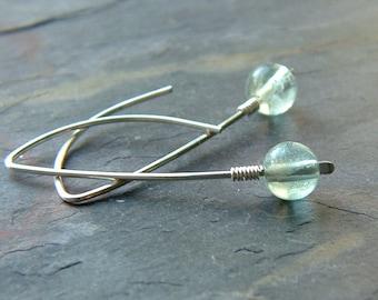 Silver Open Hook Earrings Fluorite Sterling Silver Open Hoop Dangle Threader jewelry, womens gift for her