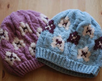 Plum Blossom Hat, Knitted hat, beanie, stranded hat