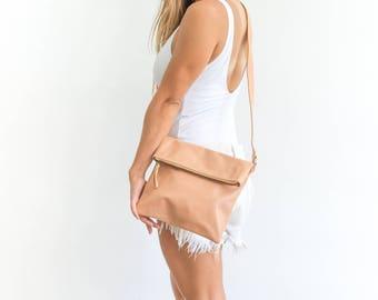 Beige Leather Crossbody Bag, Leather Folded Bag, Pink Leather Cross Body, Leather Crossbody Purse, Beige Fold Over Bag