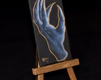 Hand II - miniature oil painting, goldleaf, demon, monster hand