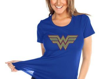 Wonder women Rhinestone Crew Neck Tee