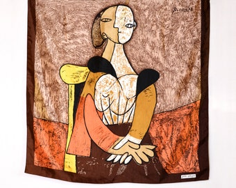 90's Pablo Picasso print scarf, brown, orange and yellow art print, cubist painting portrait of a woman vintage scarf