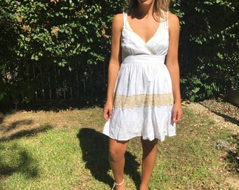 White cotton dress, embroidered dress,Small,Medium,Boho dress,lace