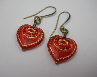 Red Czech Glass Heart Valentine Dangle Drop Beaded Earrings Double Sided Beads Brass French Ear Wires Handmade Jewelry Gift Valentines Day
