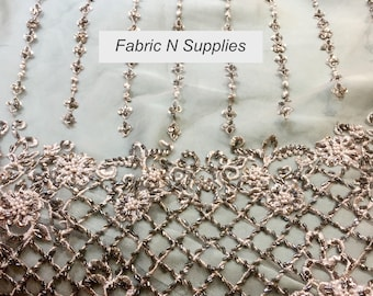 Fabric Net Lace Heavily Embroidered Beaded Handwork Sold By The Yard
