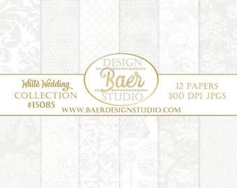 WHITE DIGITAL PAPER:Wedding Digital Paper, White Lace Digital Paper, White Damask Digital Paper, Lace scrapbook paper, Dentelle, #15085