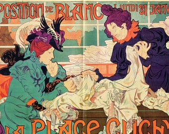 French Poster - Exposition de Blanc a la Place Clichy -  1968 Reproduction Print 8-1/2 x 12 Double Page