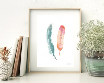 Feather watercolour art print, Colourful feather wall art. Two feather painting. Delicate feather illustration, Fine art wall home decor