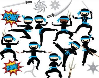 Ninja clipart - ninja clip art boy karate martial arts cute whimsical throwing stars sword katana black pink personal and commercial use