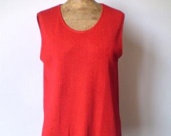 Vintage red lurex top; 80s red lurex sleeveless top.