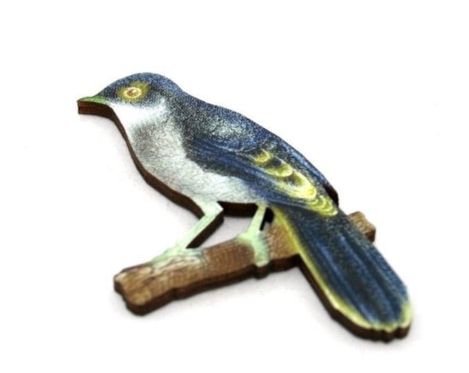 Blue Bird Brooch, Wooden Bird Brooch, Bird Illustration, Woodland, Wood Jewelry