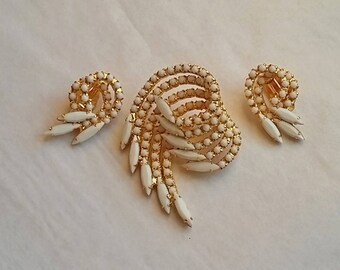 Vintage Brooch & Earring Set, Swirling Rows of Prong Set White Stones