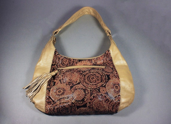 Hobo Bag, Whiting and Davis, Designer Handbag, Leather and Mesh, Shoulder Bag, Tan and Circles, Tassel
