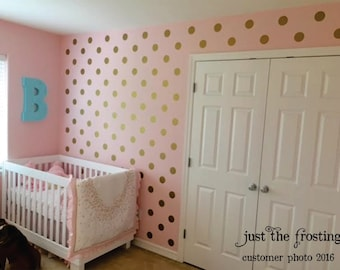 Polka Dot Wall Decals - Gold Wall Decal - Gold Dot Decals - Nursery Wall Decal