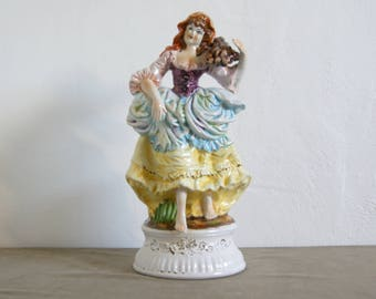 Vintage 1950's Italian porcelain Capodimonte country girl figurine  lamp base - signed